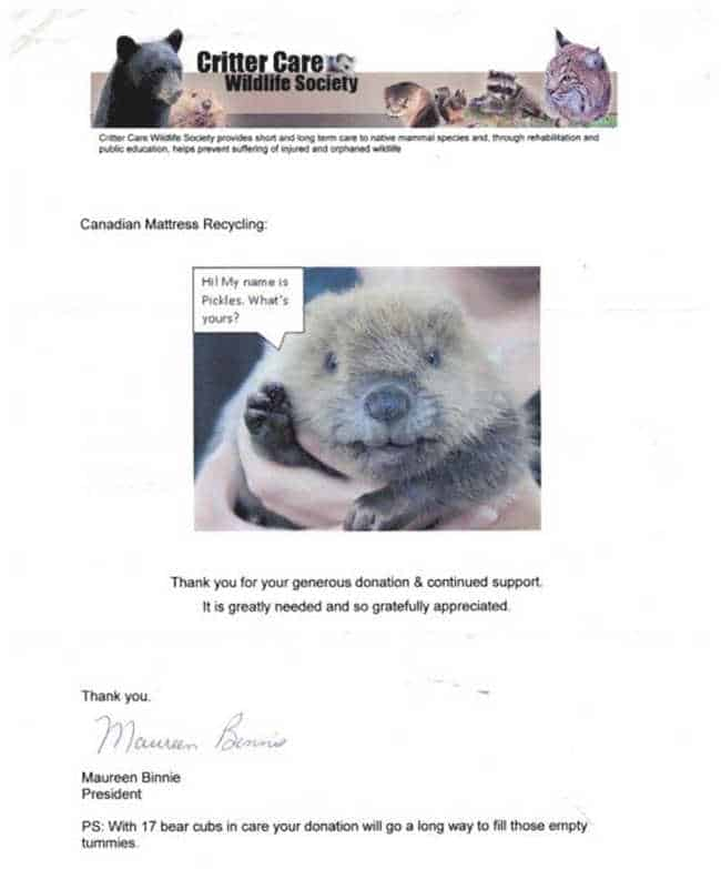 Critter Care Wildlife Society Donation 1