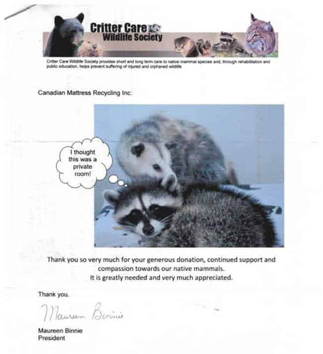 Critter Care Wildlife Society Donation 2