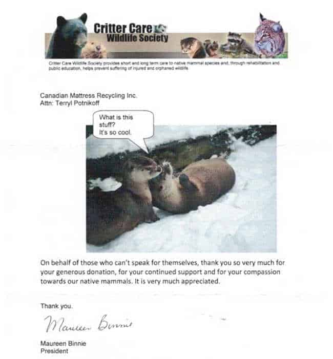 Critter Care Wildlife Society Donation 3
