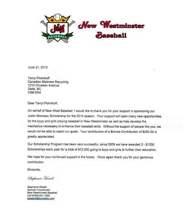 New Westminster Baseball Association Letter